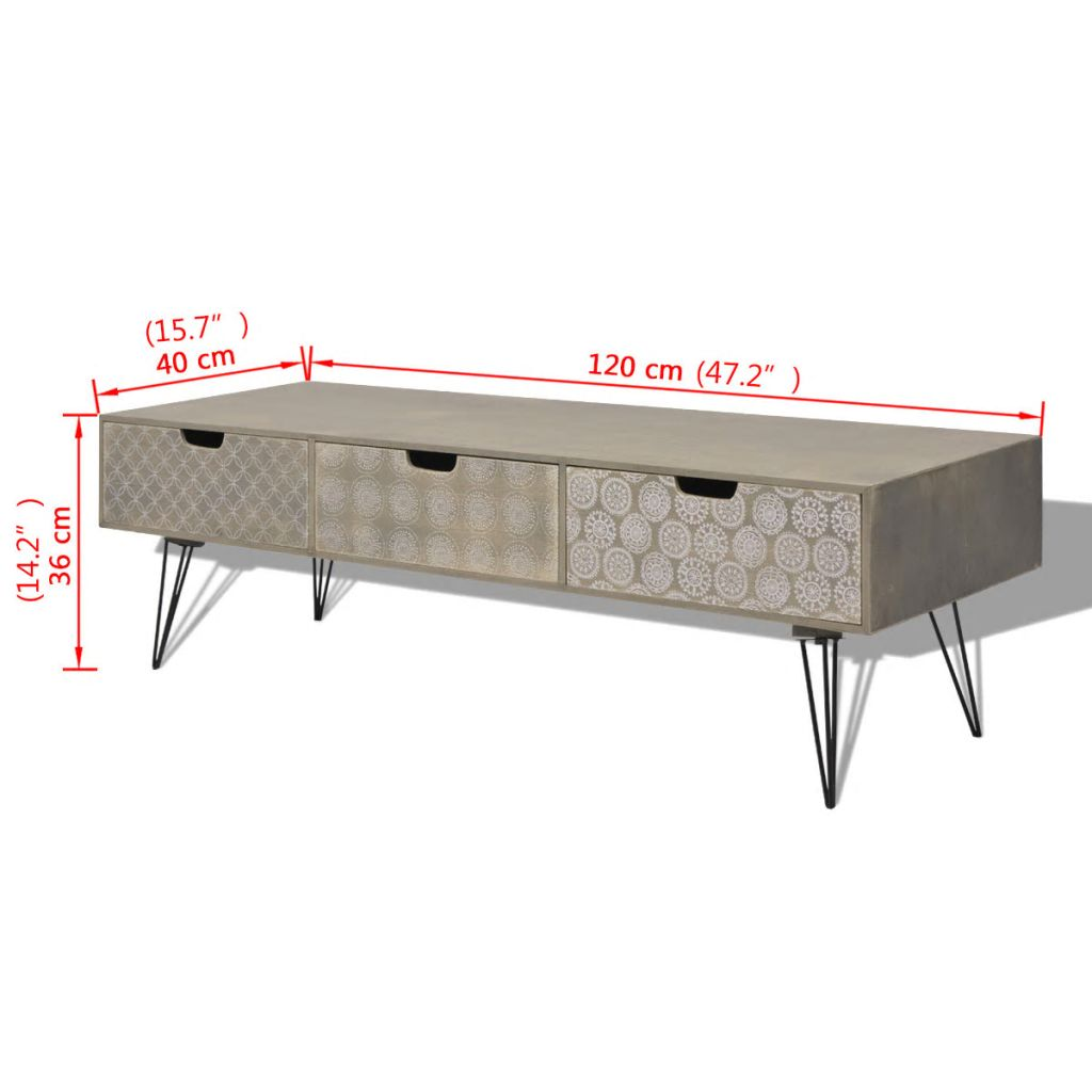 Comodă TV cu 3 sertare, 120x40x36 cm, Gri
