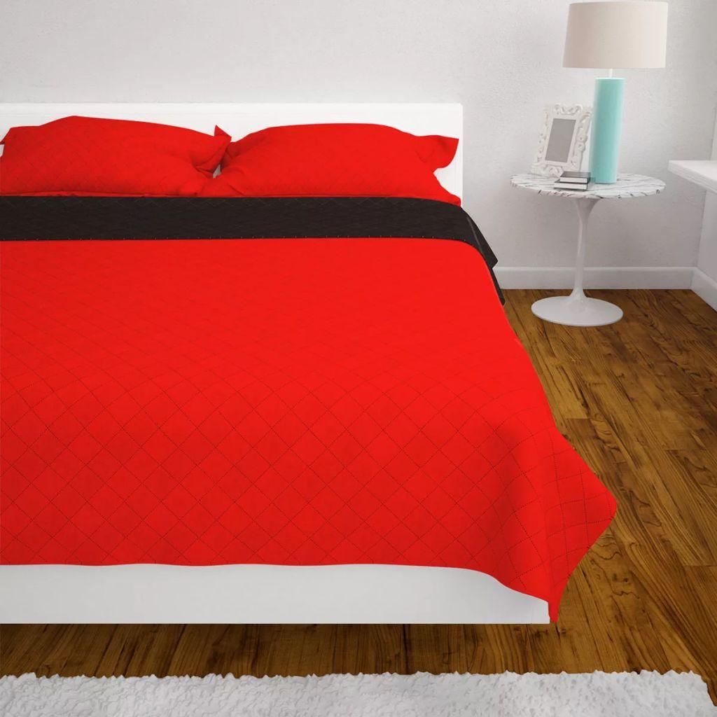 Cuvertură matlasată cu două fețe, 170 x 210 cm, roșu și negru