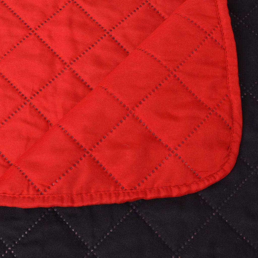 vidaXL Cuvertură matlasată cu două fețe, 220 x 240 cm, roșu și negru