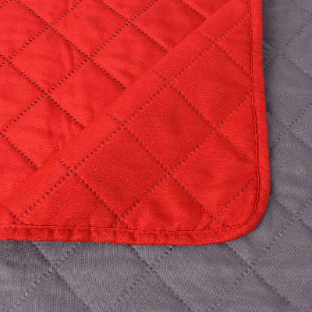 Cuvertură matlasată cu două fețe, 220 x 240 cm, roșu și gri