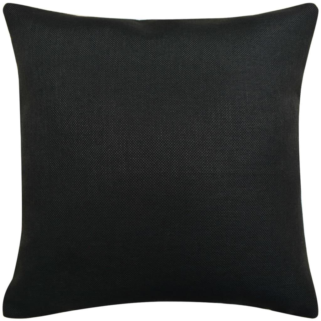 Huse de pernă cu aspect de pânză, 40 x 40 cm, negru, 4 buc.