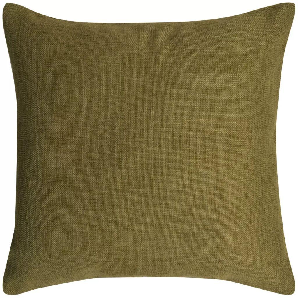 Huse de pernă cu aspect de pânză, 80 x 80 cm, verde, 4 buc.