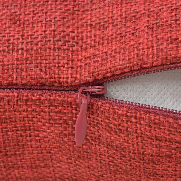 Huse de pernă cu aspect de pânză, 80 x 80 cm, burgundy, 4 buc.