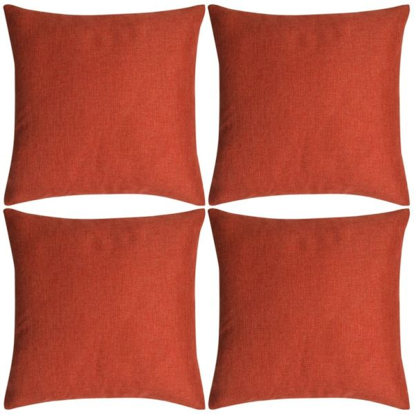 vidaXL Huse de pernă cu aspect de pânză, 40 x 40 cm, teracotă, 4 buc.