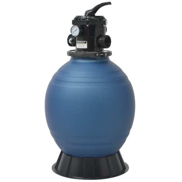 vidaXL Filtru cu nisip pentru piscină supapă 6 poziții albastru 460 mm