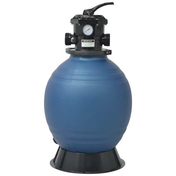 Filtru cu nisip pentru piscină supapă 6 poziții albastru 460 mm