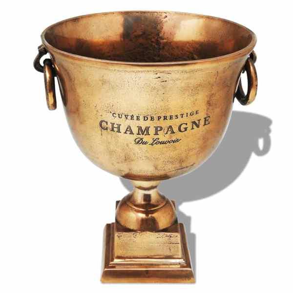 vidaXL Frapieră pentru șampanie, model cupă trofeu, maro