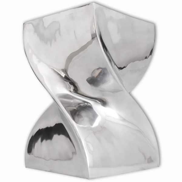 vidaXL Scaun/Masă laterală cu formă răsucită, aluminiu, argintiu