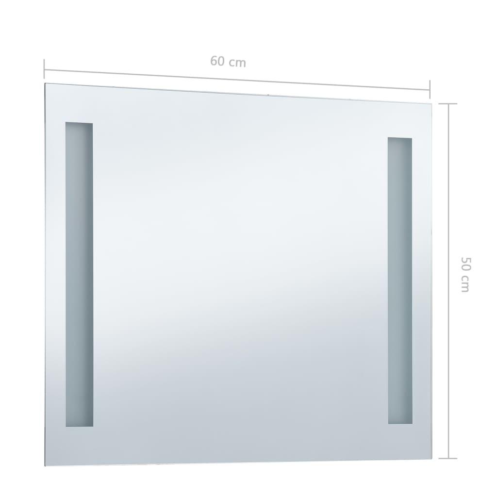 Oglindă de perete de baie cu LED, 60 x 50 cm