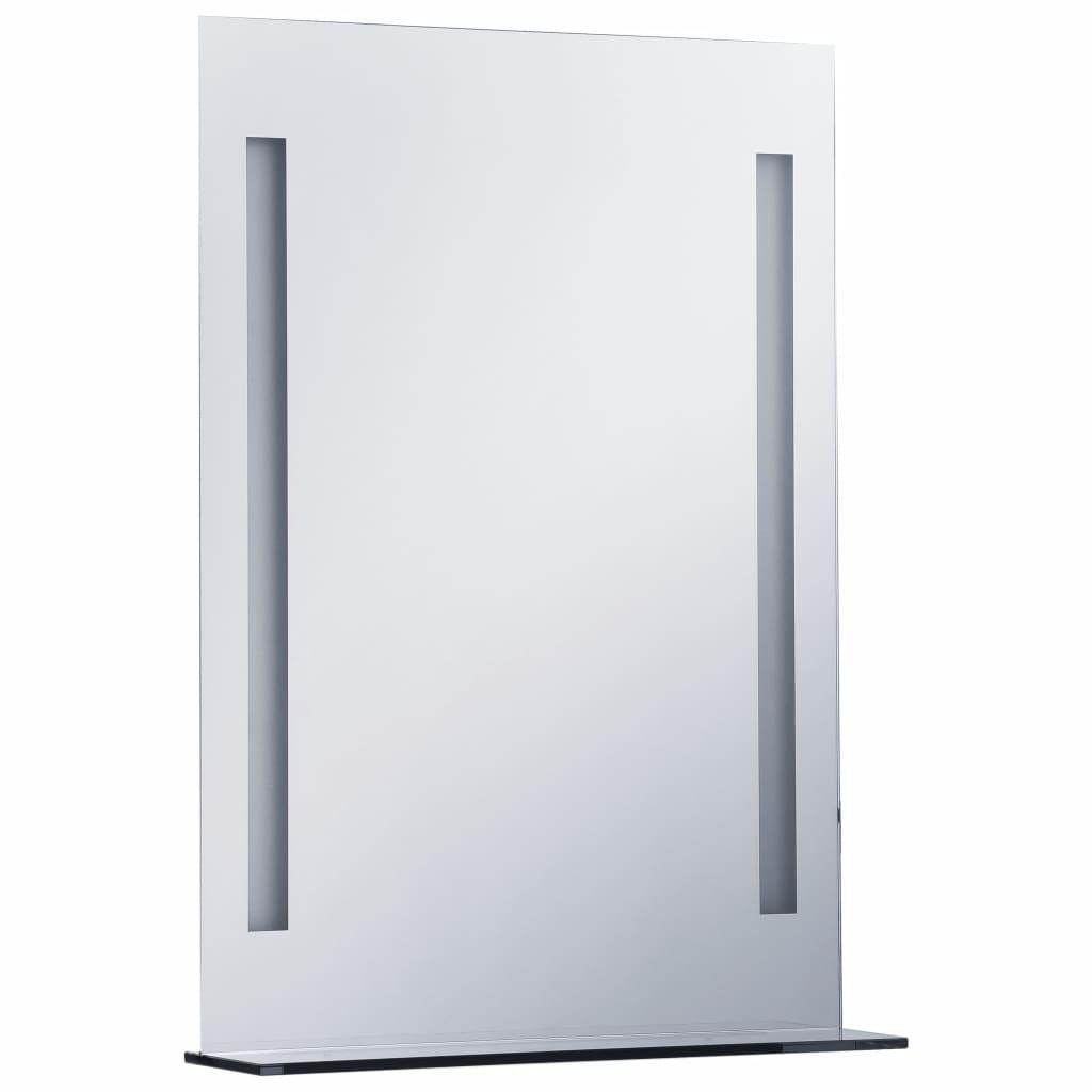 Oglindă cu LED de perete pentru baie cu raft, 50 x 70 cm