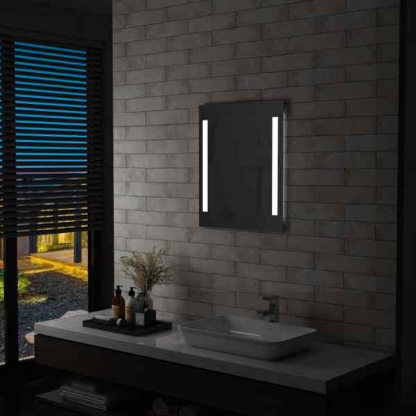 vidaXL Oglindă cu LED de perete pentru baie cu raft, 50 x 70 cm