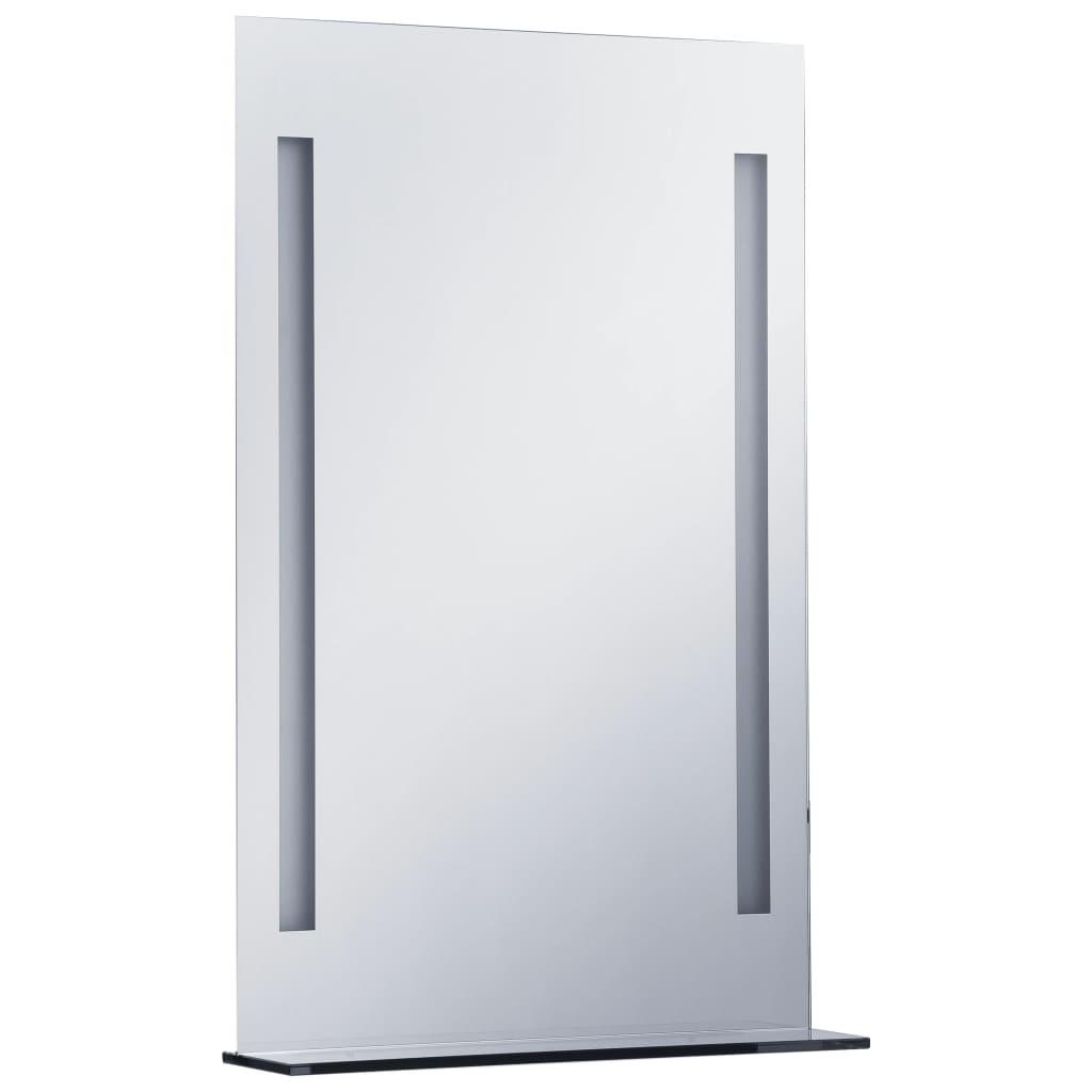 Oglindă cu LED de perete pentru baie cu raft, 60 x 80 cm