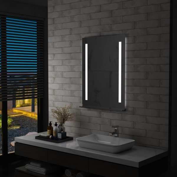 vidaXL Oglindă cu LED de perete pentru baie cu raft, 60 x 80 cm
