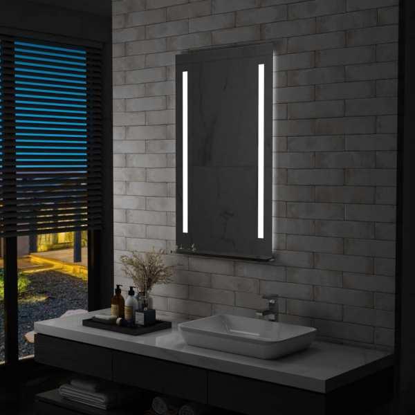 vidaXL Oglindă cu LED de perete pentru baie cu raft, 60 x 100 cm