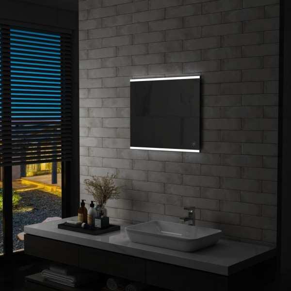 vidaXL Oglindă cu LED de perete de baie cu senzor tactil, 60 x 50 cm