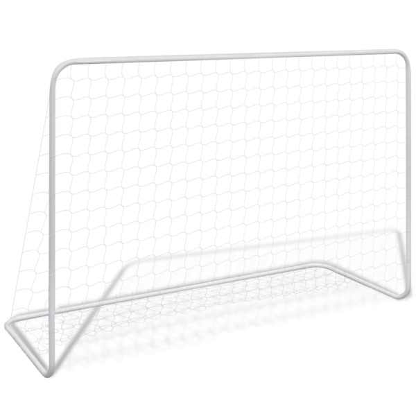vidaXL Porți de fotbal cu plase 2 buc. alb 182x61x122 cm oțel