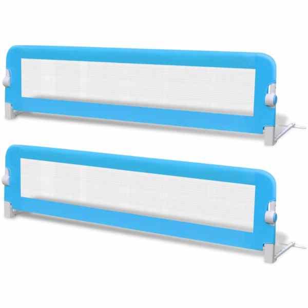 vidaXL Balustradă de pat protecție copii, 2 buc, albastru, 150 x 42 cm