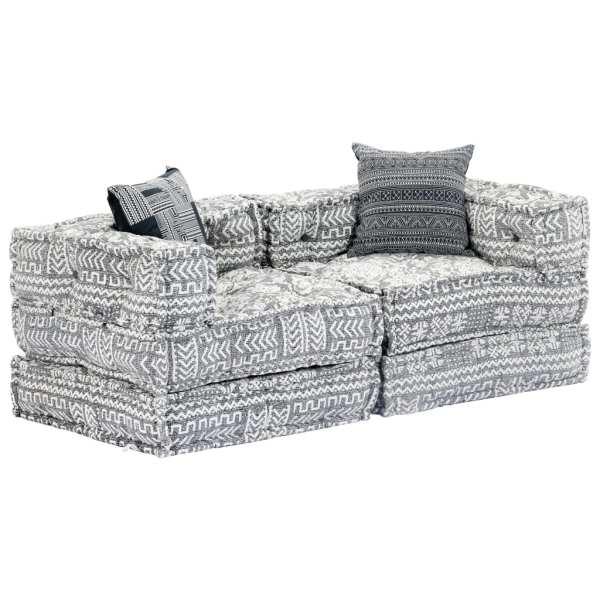 vidaXL Canapea puf modulară cu 2 locuri, gri deschis, material textil