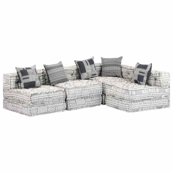 vidaXL Canapea puf modulară cu 4 locuri, gri deschis, material textil