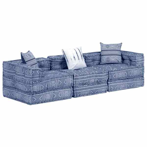 vidaXL Canapea puf modulară cu 3 locuri, indigo, material textil