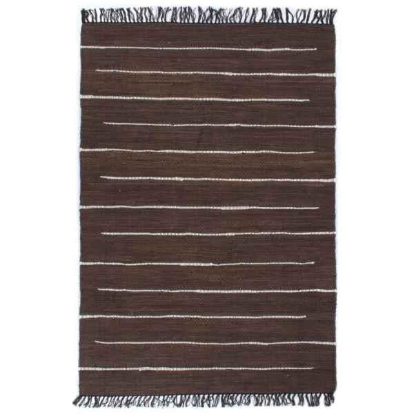 vidaXL Covor Chindi țesut manual, maro, 160 x 230 cm, bumbac