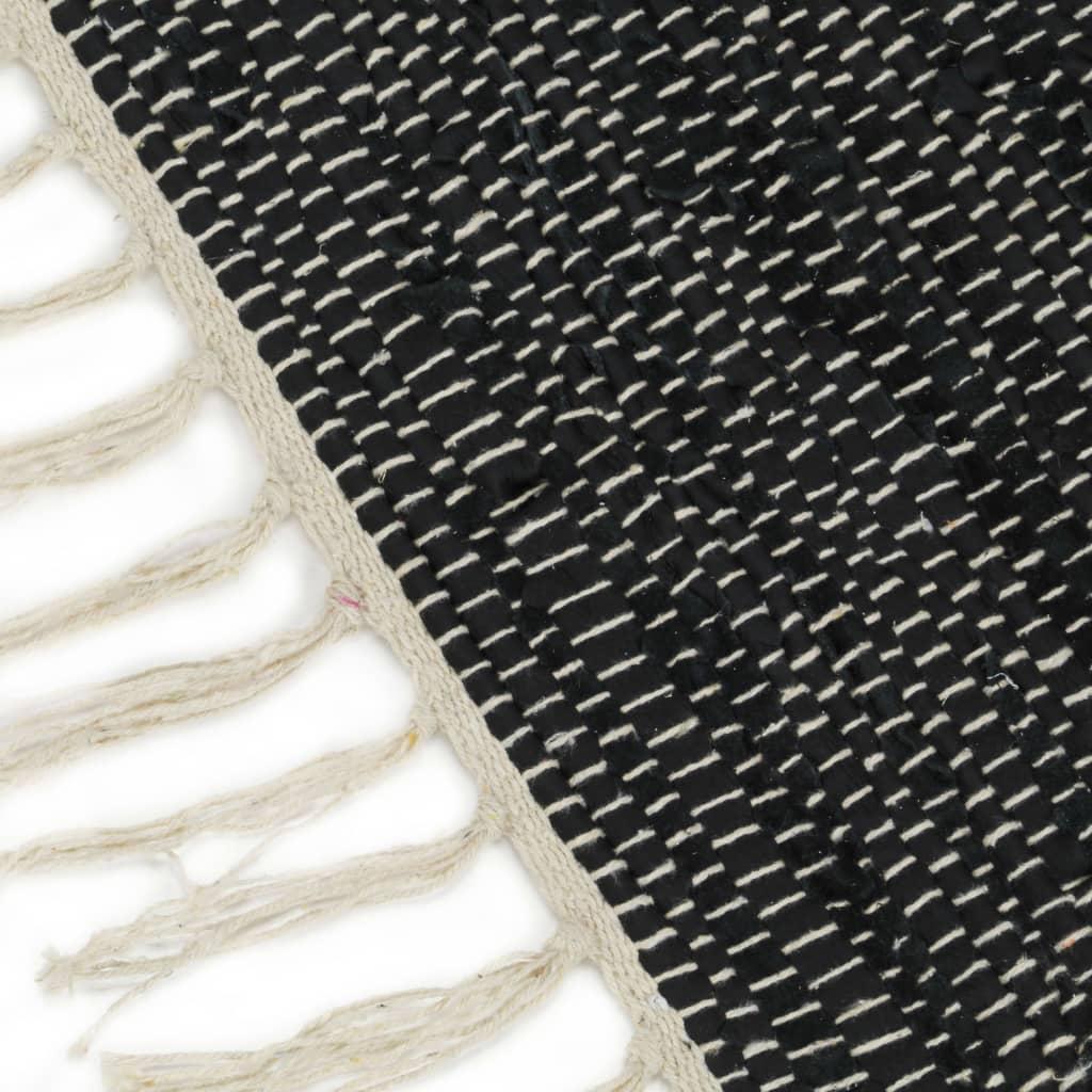vidaXL Covor Chindi țesut manual gri deschis și negru 80×160 cm piele