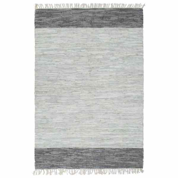vidaXL Covor Chindi țesut manual, gri, 160 x 230 cm, piele