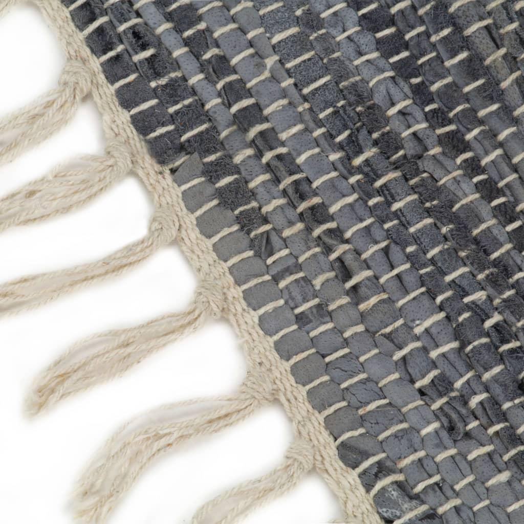 Covor Chindi țesut manual, gri, 160 x 230 cm, piele