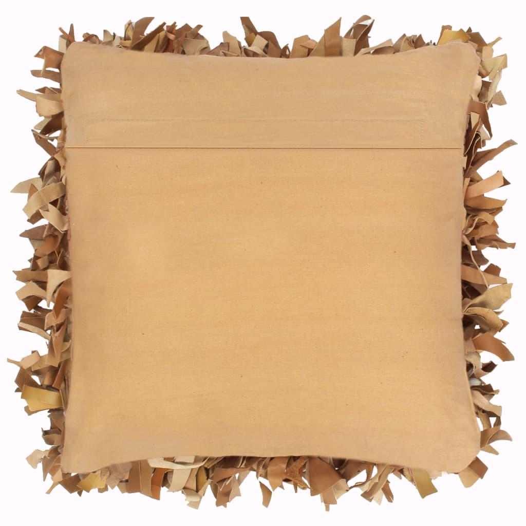 Pernuță Shaggy, cafeniu, 60×60 cm, piele și bumbac