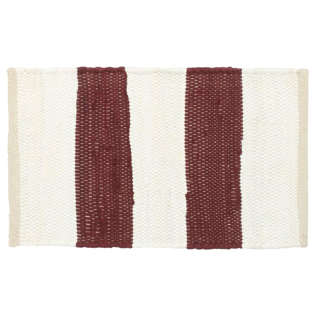 Naproane, 6 buc., chindi, dungi grena și albe, 30 x 45 cm