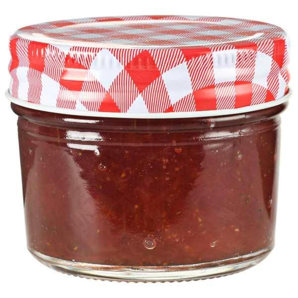 vidaXL Borcane de sticlă pentru gem capace alb și roșu, 96 buc, 110 ml