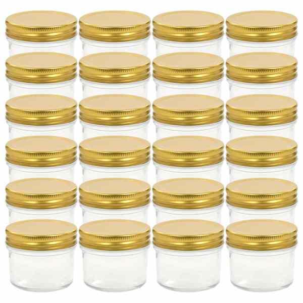 vidaXL Borcane din sticlă pentru gem cu capac auriu 24 buc. 110 ml