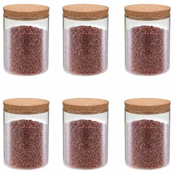 vidaXL Borcane din sticlă depozitare, capac de plută, 6 buc., 650 ml