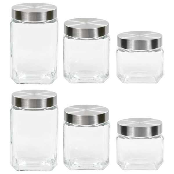 vidaXL Borcane de depozitare, capac argintiu, 6 buc., 800/1200/1700 ml