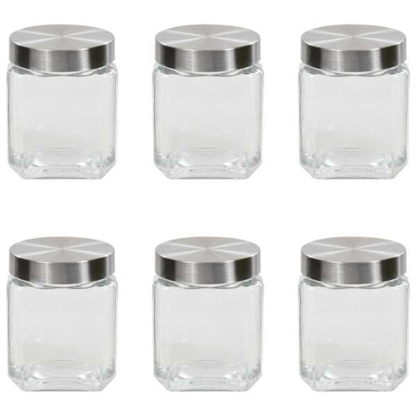 vidaXL Borcane depozitare, capac argintiu, 6 buc., 1200 ml