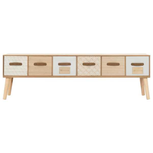 vidaXL Comodă TV cu 6 sertare, 130 x 30 x 40 cm, lemn masiv de pin
