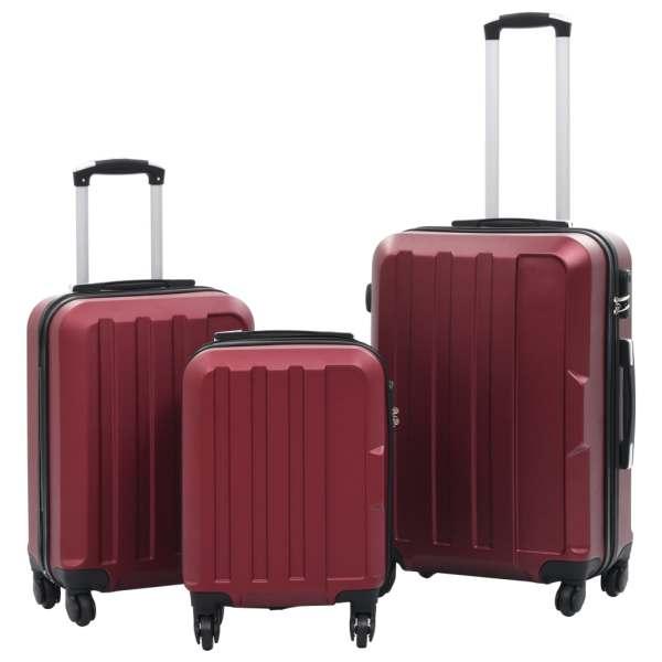vidaXL Set valize cu carcasă rigidă, 3 buc., roșu vin, ABS