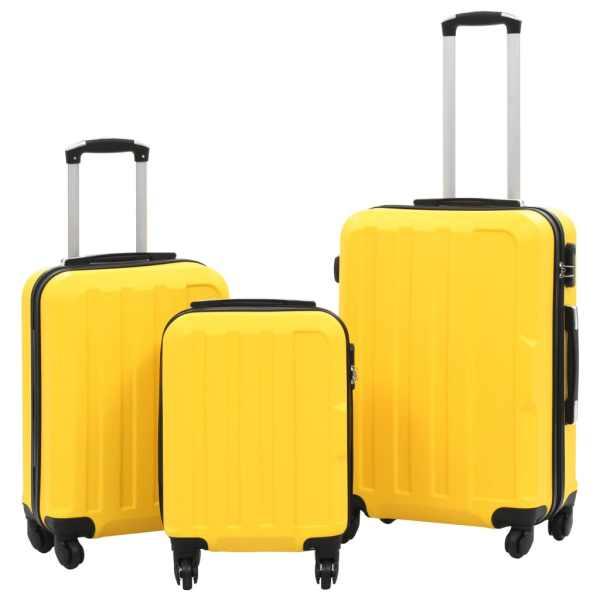 vidaXL Set valize carcasă rigidă, 3 buc., galben, ABS