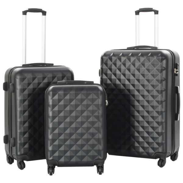 vidaXL Set valiză carcasă rigidă, 3 buc., negru, ABS