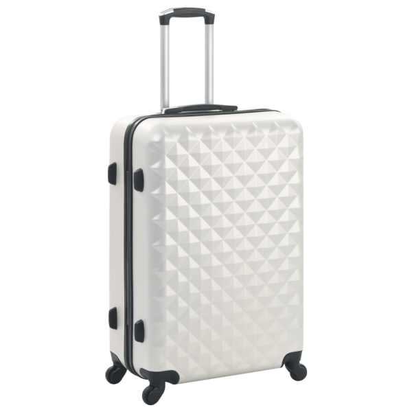 Set valiză carcasă rigidă, 3 buc., argintiu strălucitor, ABS