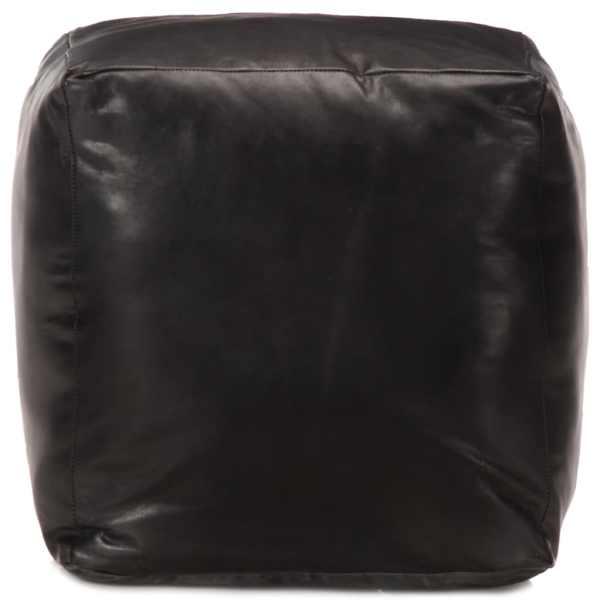 Fotoliu puf, negru, 40 x 40 x 40 cm, piele naturală de capră