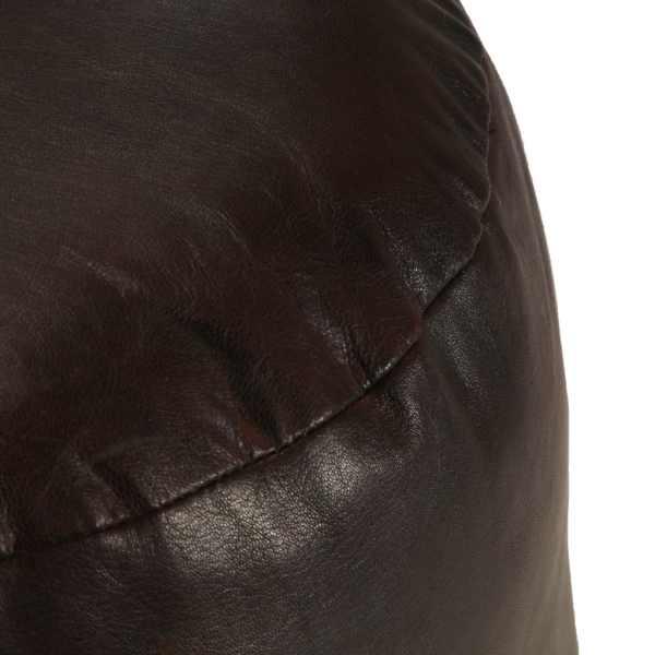 Fotoliu puf, maro închis, 60 x 30 cm, piele naturală de capră