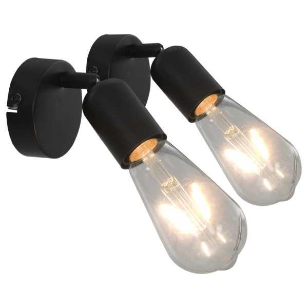 vidaXL Spoturi luminoase, 2 buc., negru, E27