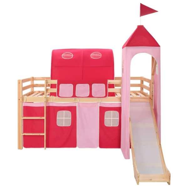 Cadru pat etajat copii cu tobogan & scară 208×230 cm lemn pin