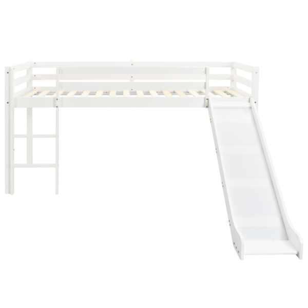Cadru pat etajat copii cu tobogan & scară 97x208cm lemn de pin