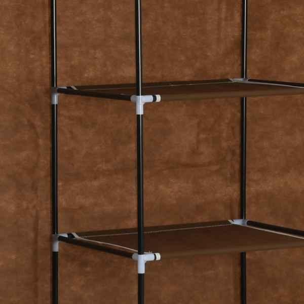 vidaXL Dulap cu bare și compartimente, maro, 150x45x175 cm, textil