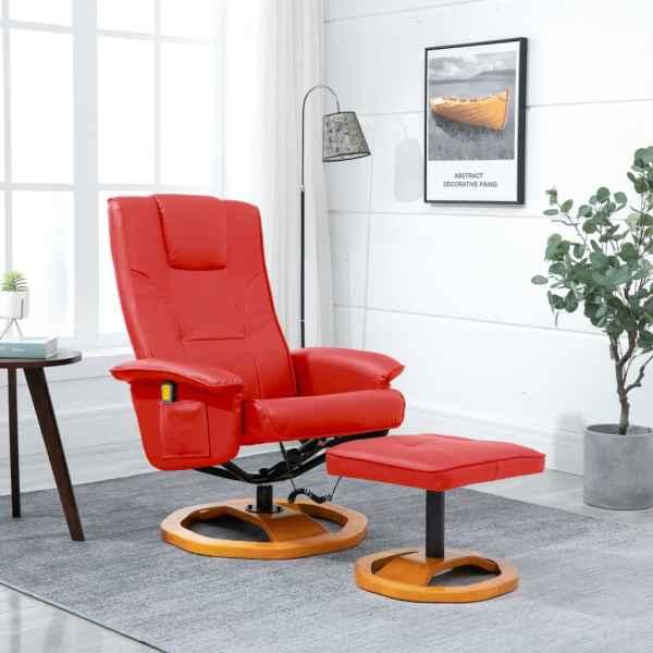 vidaXL Fotoliu de masaj cu taburet, roșu, piele ecologică