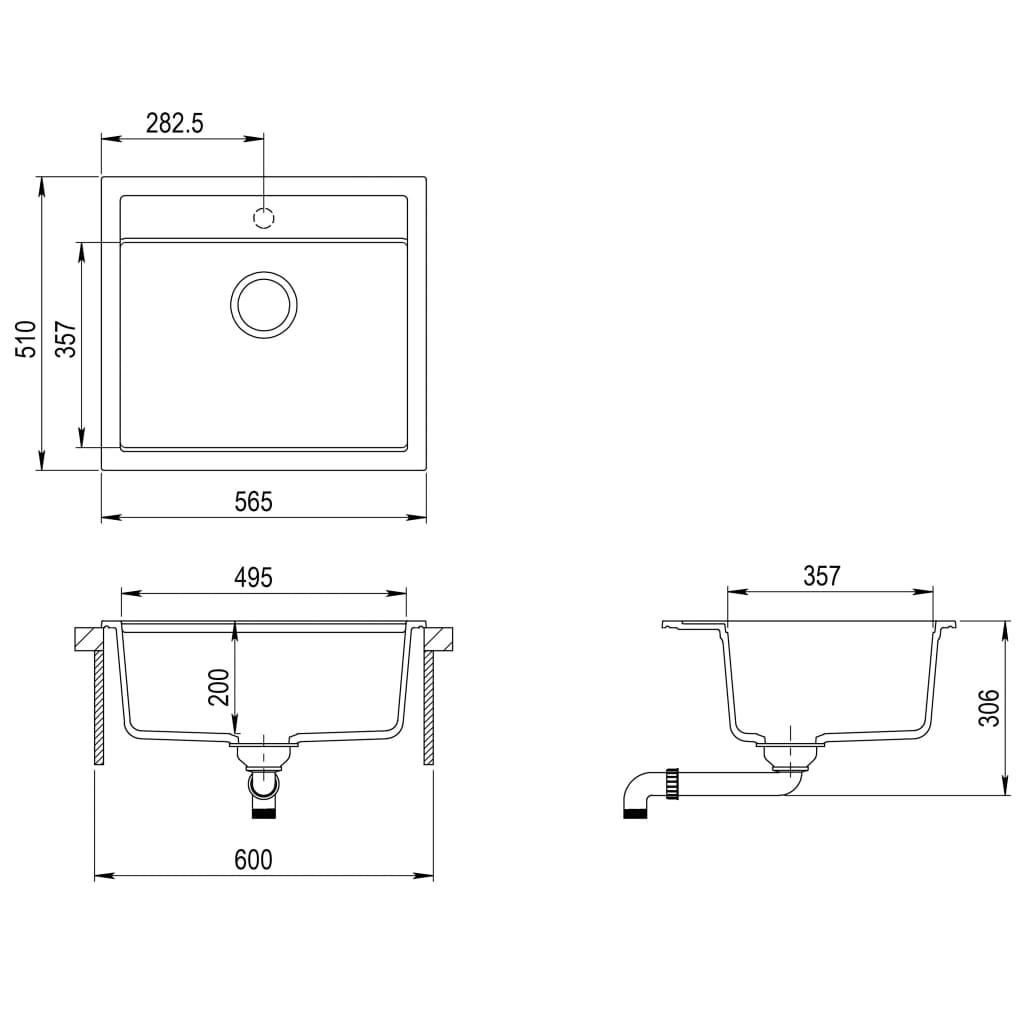 Chiuvetă de bucătărie din granit, alb, bazin unic