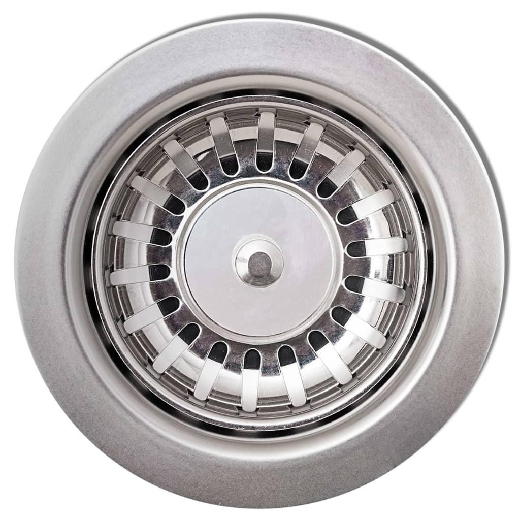 vidaXL Chiuvetă de bucătărie din granit, alb, un bazin, rotund