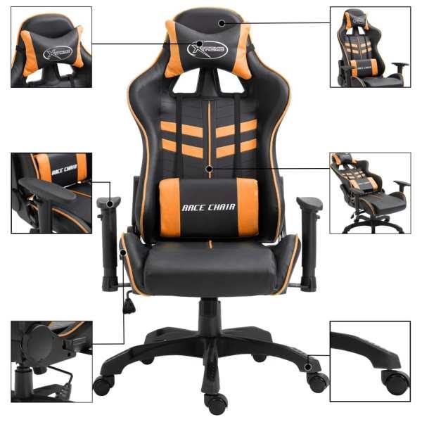 Scaun pentru jocuri, portocaliu, piele ecologică